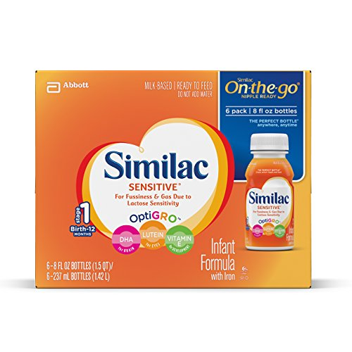 Similac Sensitive Infant Formula with Iron, For Fussiness and Gas, Baby Formula, Ready-to-Feed, 8 fl oz (6 Count)