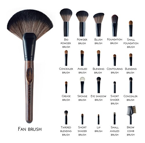 full makeup brush set. la ferra best professional makeup brushes with soft leather case - full 21 piece make up brush set