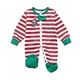 Matching Family Christmas Pajamas Set,Vanvler Women Men Kids Deer Snowman Tops Blouse Striped Pants Sleepwear PJs (XL, Baby Rompers)