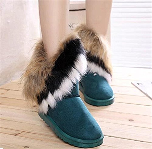 Womens Faux Fur Tassel Winter Snow Boot Suede Flat Ankle Boots Blue WpAJl