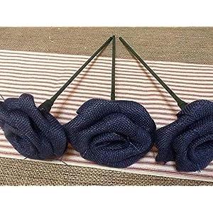 Set of Three Navy Blue Burlap Stemmed Roses Stem Flower for Patriotic Bouquet Decor Rustic Wedding Venue 100