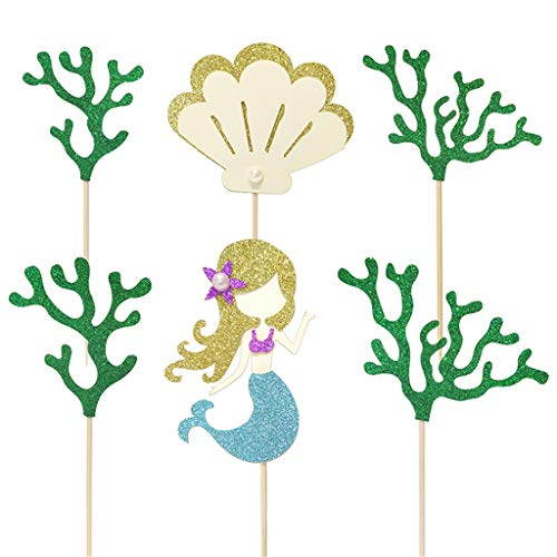 (Creaides Mermaid Cake Toppers Glitter Seaweed Shell Cupcake Picks Cake Decoration for Ocean Themed Baby Shower Wedding Birthday Party Favors Pack 24pcs)