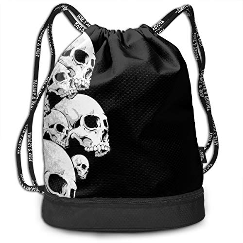 - Men & Women Premium Polyester Drawstring Backpack Cool Skulls Black Daypack Theft Proof Lightweight For School Soccer Baseball Bag Large Size For Camping, Runner