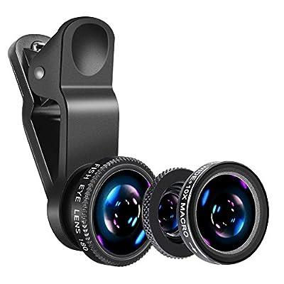 Yarrashop 3-in-1カメラレンズキット 180°魚眼レンズ 10xマクロレンズ 0.65x広角レンズ3点セット クリップ式 iPhone iPad Androidなど対応 ブラック