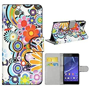Colorful Flowers PU Leather with Stand and Card Slot Case Cover for Sony Xperia Z2