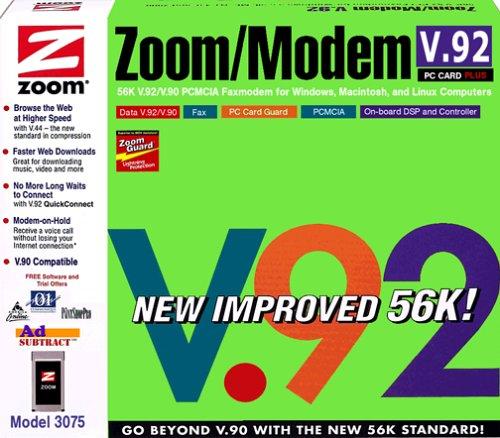 Zoom PC Card 56K 3075 – Fax / modem – plug-in module – PC Card – 56 Kbps – K56Flex, V.90, V.92