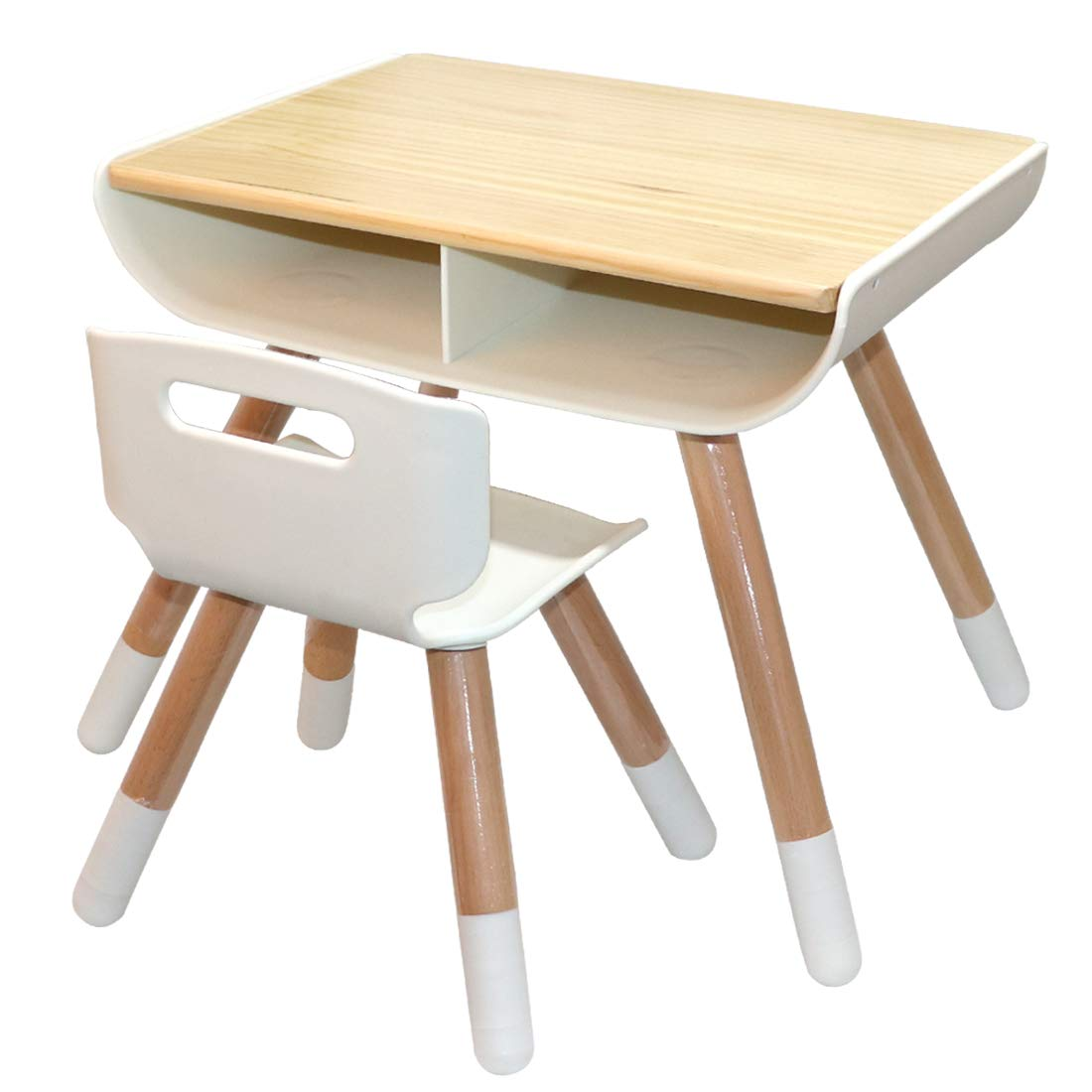 Asunflower Wooden Table and Chair Set for Toddlers and Preschooler - with Storage and Adjustable Legs as Dining Table