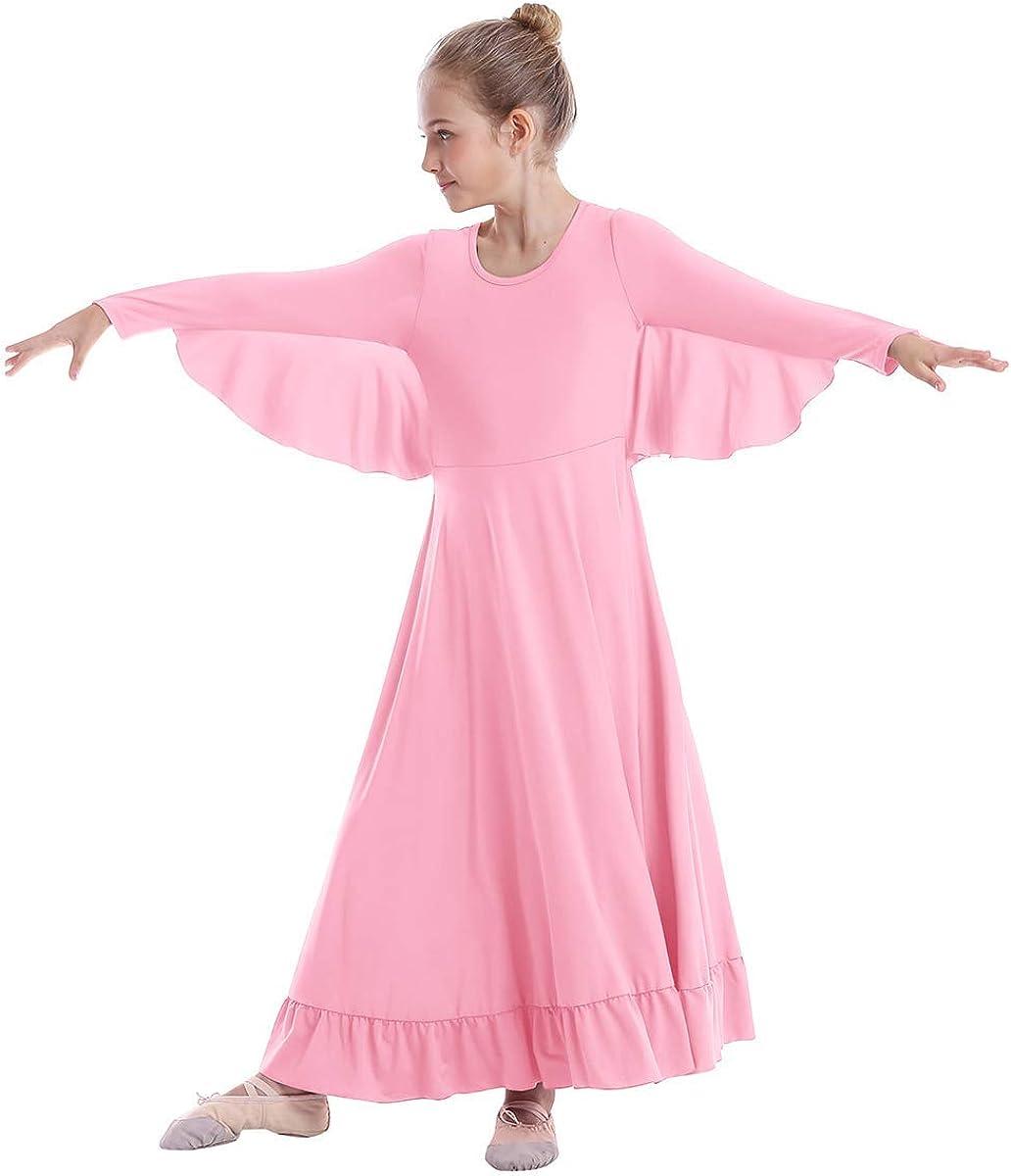 Girls Angel Isis Wings Worship Liturgical Praise Dance Dress Church Robe Kids Ruffle Full Length Ballet Gown Dancewear