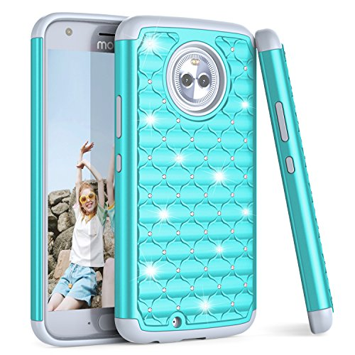 Moto X4 Case, TILL(TM) Studded Rhinestone Crystal Bling Diamond Sparkly Luxury Shock Absorbing Hybrid TPU PC Defender Rugged Cute Girls Women Case Cover For Motorola Moto X 4th Generation [Turquoise]