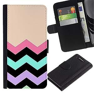 KingStore / Leather Etui en cuir / Sony Xperia Z1 Compact D5503 / Peach noir Pink Pattern
