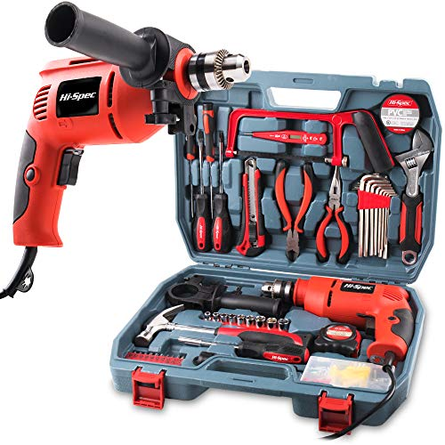 Hi-Spec 300W Hammer Power Drill & 130pc Hand Tool Set Combo Kit with Hacksaw, Pliers, Claw-Hammer, Wrench, Box Cutter, Hex Keys, Screwdrivers, Socket & Driver Bits, Voltage Tester in Storage Case ()