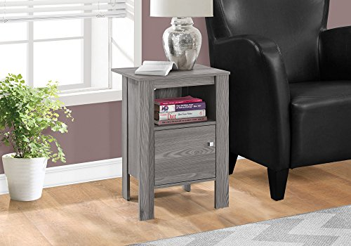 "Monarch Specialties I 2138 Accent Table-Grey Night Stand with Storage, 17.25"" L x 14"" D x 24.25"" H"