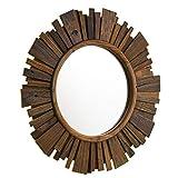 Furniture HotSpot Round Reclaimed Wood Mirror - Starburst Design - Wooden Frame