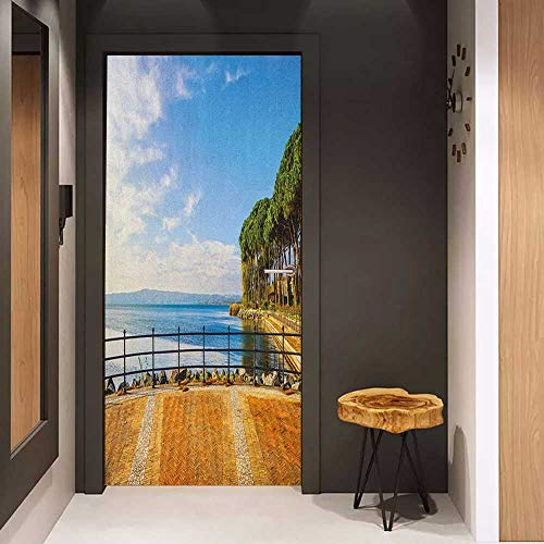 - Onefzc Pantry Sticker for Door Italian Terrace Promenade Balcony and Pine Trees in Bolsena Lake Italy Print Sticker Removable Door Decal W23 x H70 Blue and Pale Brown
