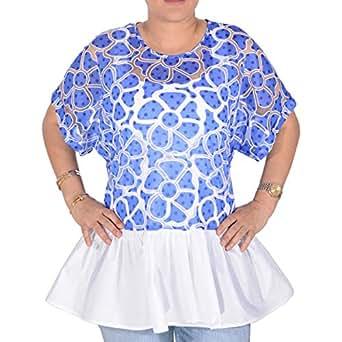 Velvetbydala Multi Color Cotton Round Neck Ruffle & Peplum Top For Women