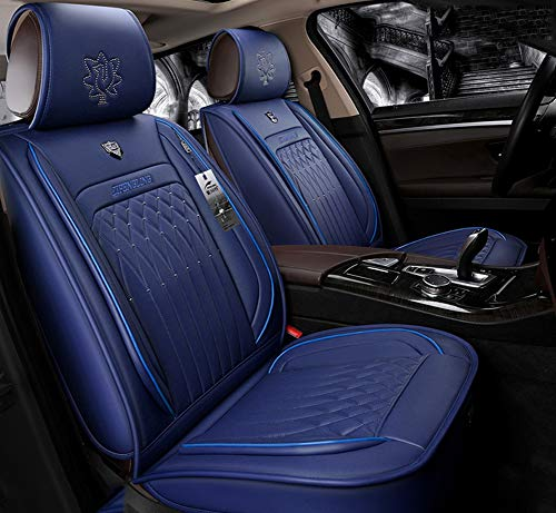 Easy To Clean PU Leather Car Seat Cushions 5 Seats Full Set - Anti-Slip Suede Backing Universal Fit Covers Adjustable Bench for 99% Types of Cars,Blue: