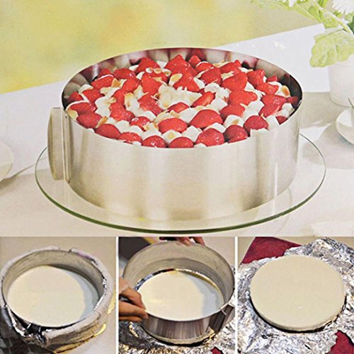 "Ecosin Cake Mold Adjustable 6-12"" Stainless Steel Cake Mousse Mould Baking Round Form Ring Home"
