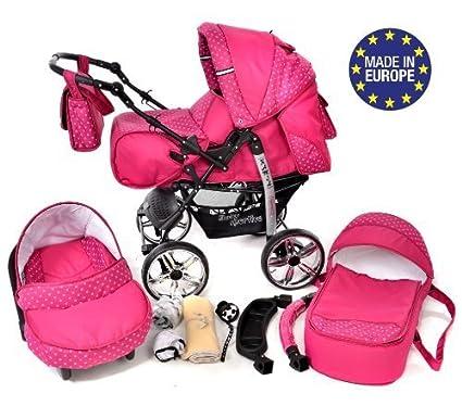 Kamil - Sistema de viaje 3 en 1, silla de paseo, carrito con capazo y silla de coche, RUEDAS ESTÁTICAS y accesorios (Sistema de viaje 3 en 1, rosado, ...
