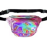 Dolores Women Fashion Hologram Laser Waist Bag Fanny Pack Zipper Waterproof Chest Pack Bum Bag Beach Purse, Light Purple
