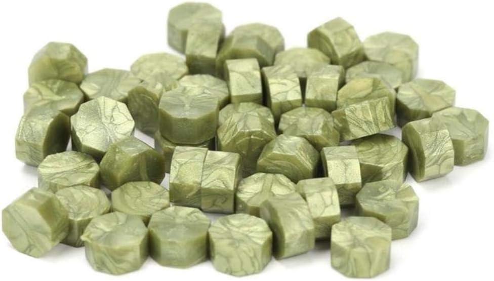 100 unids/bolsa tableta de cera de sellado de la vendimia granos de la píldora sello de cera octogonal sello para sobre fiesta de boda estampado cera de sellado de grano, mostaza verde