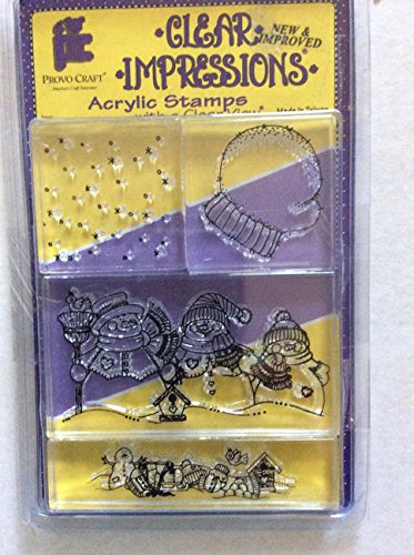 - Provo Craft Clear Impressions Winter 4 Acrylic Block Stamp Set
