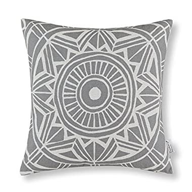 Euphoria CaliTime Cushion Cover Throw Pillow Shell Compass Geometric 18 X 18 Inches Gray
