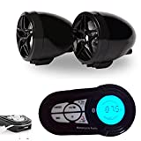 INNOGLOW 7/8'' 1'' Waterproof Motorcycle Bluetooth Wireless Stereo Speakers Handlebar Mount MP3 Music Player Sound Audio Stereo Amplifier System Support USB Read & Charge SD Card for Scooter ATV UTV