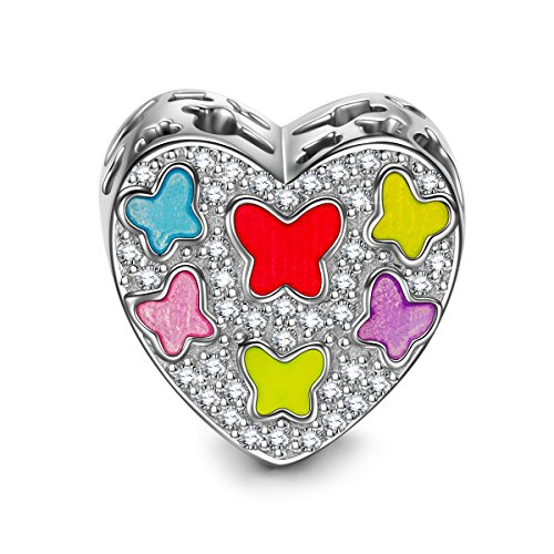NINAQUEEN Dancing Butterfly 925 Sterling Silver Hollow Heart Multicolored Enamel Bead Charms for Bracelet Necklace Birthday Anniversary Valentines for Wife Girlfriend Niece Teen Girl