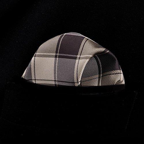 Set Barry Neckties Brown Check Cufflinks Men's Pocket Square Wang Tie Silk HH41qa6Cpc