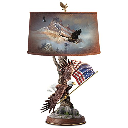Ted Blaylock Table Lamp with Patriotic Eagle Art On Shade and Sculpture Base by The Bradford Exchange