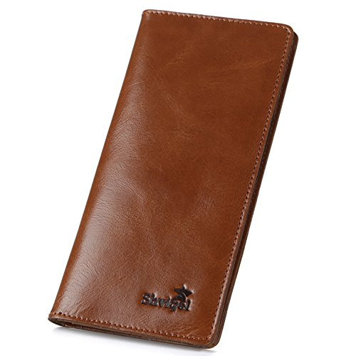 Shvigel Long Bifold Wallet for Men and Women - Soft Genuine Leather - Checkbook Holder Organizer - Large (Light - Designer Brands Exclusive
