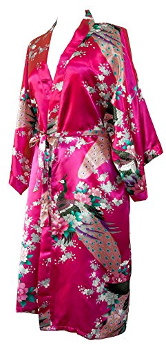 CC Collections Kimono 16 Colours Premium Version Free 1st Class UK Shipping Dressing Gown Robe Lingerie Night wear Dress Bridesmaid Hen Night (Pink Fuschia)