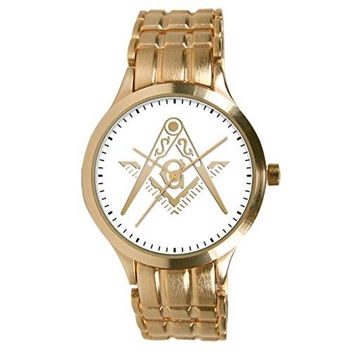 Pedre Men's Round Gold-Tone Bracelet Masonic Blue Lodge Watch 0061GBL