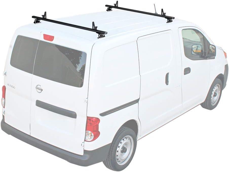 Aluminum 3 Bar 50 AA-Racks Model AX312-NV Compatible Nissan NV200 2013-On Van Roof Rack System w// Ladder Stopper Black