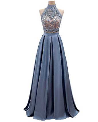QiJunGe Womens Halter A line Homecoming Dress Lace Satin Formal Prom Party Gowns