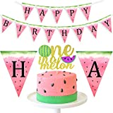 LUCK COLLECTION One in a Melon Cake Topper Watermelon Banner for Watermelon Themed Birthday 1st Birthday Party Supplies