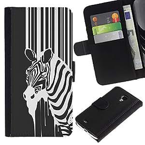 YiPhone /// Tirón de la caja Cartera de cuero con ranuras para tarjetas - B & W Zebra - Samsung Galaxy S4 Mini i9190