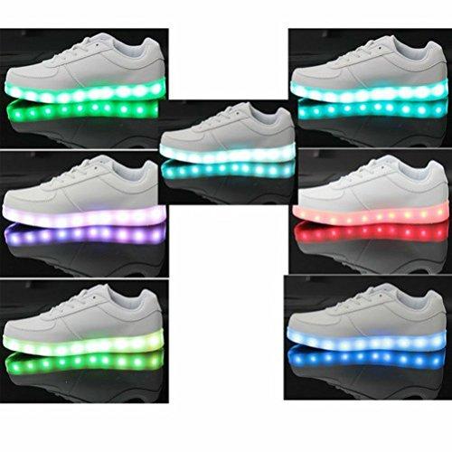[Present:kleines Handtuch]JUNGLEST® 7 Farbe LED Leuchtend Sport Schuhe USB Aufladen Turnschuhe für Unisex Herren Dam Weiß