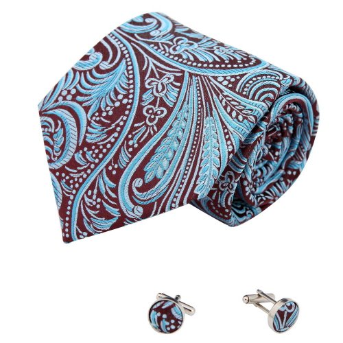Blue Pattern Tie (teal Florals cheap ties for men pattern Valentine handmade silk neck tie cufflinks set A2094 One Size Blue)