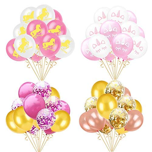 60 PCS Balloons Unicorn Party Balloons Decorations 12 Inches Golden/Purple Paper Confetti,Rose Gold/Pink Latex Balloons for Party Girls Baby Shower Birthday Decoration Supplies -