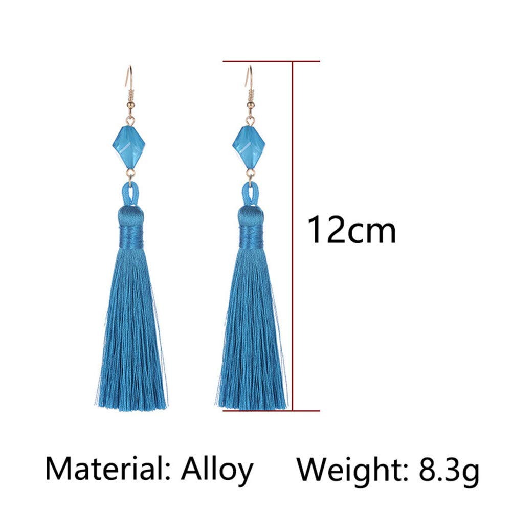 Ellepigy Bohemian Tassel Ear Jewelry Ethnic Style Vintage Wild Long Tassel Earrings Boho Drop Dangle Earrings Royal Blue