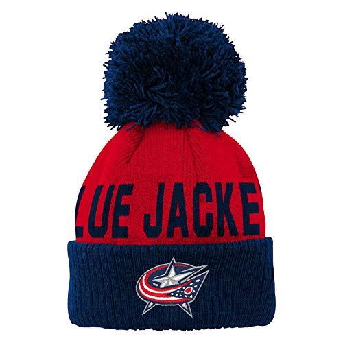 Outerstuff NHL NHL Columbus Blue Jackets Infant Jacquard Cuff Hat with Pom, True Navy, Infant One Size ()