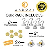 WADOXY Premium Magnetic Hooks, 6 Pack Including 2