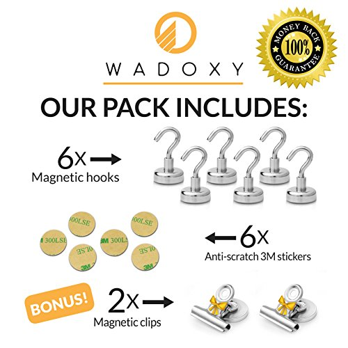 WADOXY Premium Magnetic Hooks, 6 Pack Including 2 Extra Magnetic Clips- Super Strong Heavy Duty Neodymium 25 LB Set With Stickers, Organization Magnets For Indoor/Outdoor Multi-Use Photo #5