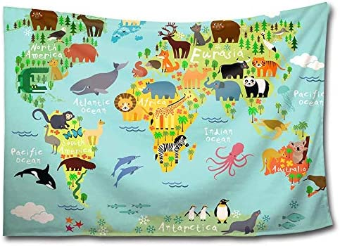 HWMR Children Kids Wall Decor Cute Wild Animals World Map of The World Tapestry Wall Hanging Cartoon Mountains Forests Light-Weight Polyester Wall Collage Dorm Beach Throw Tapestries 60×90 Inch