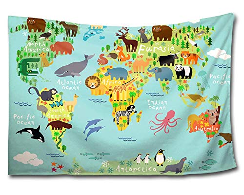 HMWR World Map Tapestry Wall Hanging Kids Tapestry Animal World Map Cartoon Wildlife Continent Forest Wall Fabric Tapestry Throw Artwork Home Decoration for Living Room Bedroom Dorm 90x60 ()