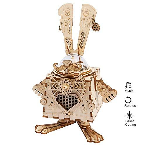 (Eggschale 3D Puzzle Music Box DIY Kit Machinarium Wooden Craft Toys Bunny Laser Cut Birthday for Girls Girlfriend)