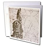 Vintage Pretty Lady Steampunk Art - Greeting Card, 6 x 6 inches, single (gc_110256_5)