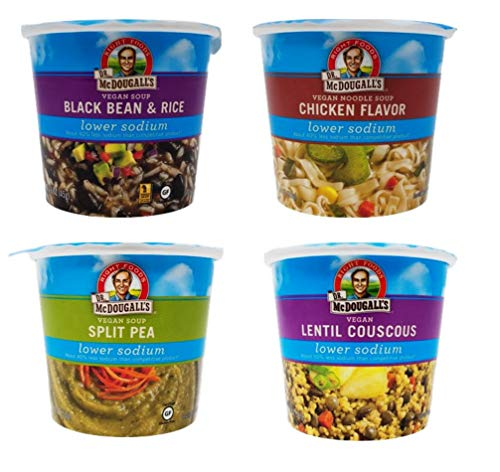 Dr. McDougalls Lower Sodium Soup Cups 4 Flavor Variety Bundle, 1 Ea: Chicken Noodle, Black Bean & Rice, Split Pea, Lentil Couscous