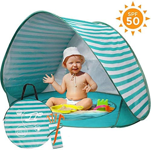 mysticall Tragbares Baby-Strandzelt, Pop Up Abnehmbarer UV-Schutz UPF 50+ Sonnenschutz mit Mini-Pool für Baby-Strandzelt für Babys
